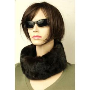 Mink Tube Headband Loop Scarf Fur Mink Head Wäremer W. Hat Dark Brown