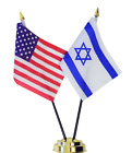 United States of America & Israel Double Friendship Table Flag Set