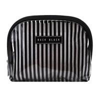 Women Travel Waterproof Stripes Makeup Toiletry Bags Transparent Cosmetic Bag W