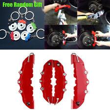 3D 4PCS Red Car Universal Disc Brake Caliper Covers Front & Rear Kit w/Keyring