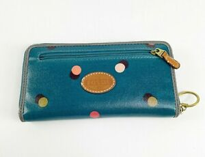 NWOT Fossil Zip around full size wallet Polka dot Colorful Blue coated leather
