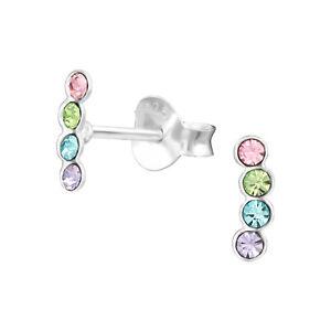 925 Sterling Silver Geometric Crystal Stud Earrings