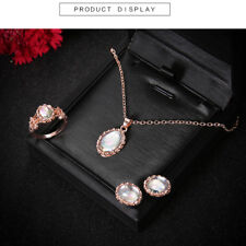 Women Elegance Rose Gold Plated Crystal Necklace Ring Earring Jewelry Set Gifts