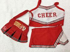 Build A Bear High School Musical Cheerleader Uniform Bag Top Skirt Clothing lot