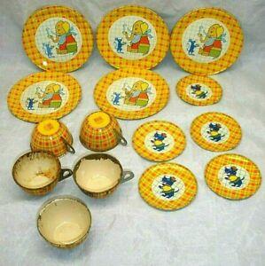 Antique Tin Litho Child's Tea Set Lot 15 Pieces Elephant Scottie Dog Terrier USA