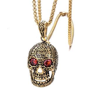 Men's Stainless Steel Gothic Skull Red Crystal Eye Biker Pendant Necklace