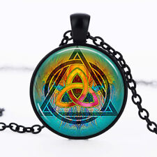 Triquetra photo Black Dome Glass Cabochon Necklace chain Pendant #517