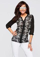 Klassische Damen-Blusen ohne Kragen 3/4 Arm Damenblusen, - tops & -shirts
