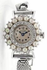 Vintage 1940s Lucien Piccard Cultured Pearl Diamond 14k White Gold Ladies Watch