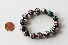 Handmade Chinese Cloisonne Enamel Round Beads Floral Stretch Bracelet