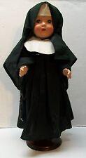 Nun Doll Black Habit Robe Eyes Open Close Composition 1930's Vintage
