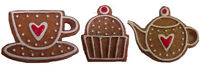 GISELA GRAHAM HANGING CHRISTMAS TREE DECORATIONS GINGERBREAD CAKE CUP TEAPOT