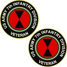 """Army 7th Infantry Division Veteran (2) 3.8"""" Stickers / Decals 'Two Pack'"""