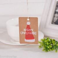 50 Etiquettes Tag Kraft Carte Papier Cartonné Rectangle Label Chapeau Noël