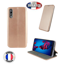 Etui Luxe Rabattable Rose Simili Cuir Avec Support pour Huawei P20