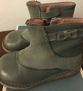 Jacadi Paris Pamela Boots Steel Gray Leather and Suede Toddler Girls Size 7 EU22