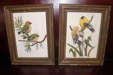 Vintage Goldfinch & House Finch Nesting Pair Birds Crewel Needle Artist Framed