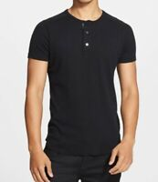Wings + Horns steel 1x1 slub short sleeve henley shirt L mens large