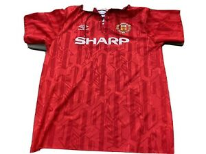 MANCHESTER UNITED 1992 1993 FOOTBALL ENGLAND  OFFICIAL LACE UP  JERSEY UMBRO