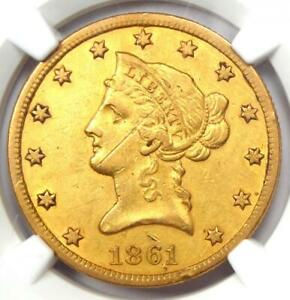 1861-S Liberty Gold Eagle $10 Coin - Certified NGC AU Details - Civil War Date!