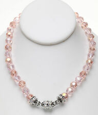 KIRKS FOLLY GODDESS CRYSTAL  2-TONE MAGNETIC  NECKLACE peachy pink / silvertone