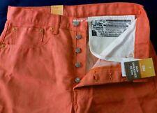 $70 Mens LEVIS Classic 501 SHRINK TO FIT Coral Red 33x31 RAW DENIM RIGID pastel