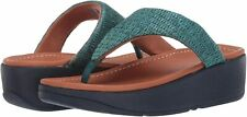 Women's Shoes FitFlop IMOGEN BASKET WEAVE Toe Post Sandals CU7-641 SEA BLUE