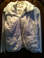 COLDWATER CREEK WOMEN'S WHITE PUFFY ZIP UP HOODIE SIZE L