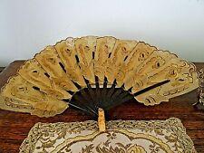 Rare Antique Animal Skin Hand Made Fan Gold Embellishments, Pierced, Oriental