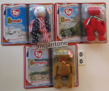 MOC LOT 3 McDonald's 2000 Teenie Beanies INTERNATIONAL BEAR TBB Spangle BABY
