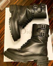 Dior Women Black Leather D Fight Combat Boots Booties 37.5 DIOR 7.5 US