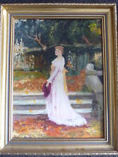 "Original Lady Portrait ""Viewing The Garden"" Oil Painting on Canvas Board -Signed"