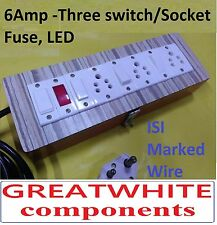Wooden Extension 3 sockets + 3 Switch,,fast ship, 2 mtr ISI Wire, lock, portable