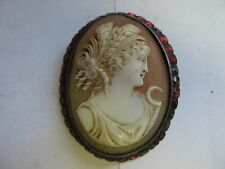 Vintage Late 1890s Sterling Silver & Garnet Cameo Brooch w/ box - Used