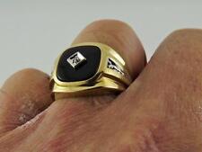 Masculine & Big !!! 10k Solid Yellow Gold Mens Onyx Ring w Diamonds, Sz 10