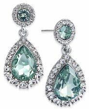& Colored Crystal Drop Earrings New Charter Club Silver-Tone Pavé