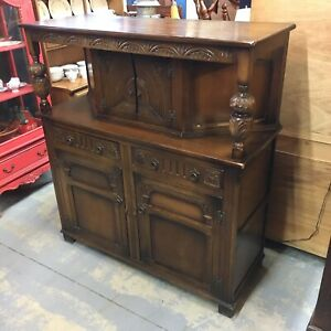 Beautiful Carved English Court Cupboard Cathedral Oak Sideboard Medieval Antique