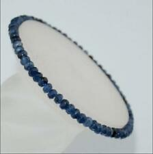 """New 2x4mm Faceted Natural Blue Sapphire Roundlle Gemstone Bracelets 7.5"""""""