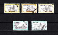 Aurigny Alderney  timbre  navires bateaux voiliers  1990  num:  43/47  oblitéré