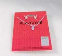 "PLAYBOY Bunny EARRINGS 16"" NECKLACE SILVER Plated  RHD Tuxedo PETITE Bunny SET"