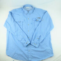 Columbia PFG Shirt Mens XL Omni Shade Vented Fishing Blue Long Sleeve Sports