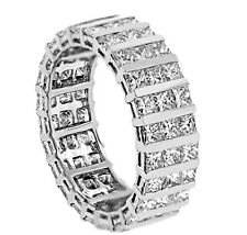 Diamond Eternity Wedding Band 4.19ct Princess Cut Diamonds in 18k White Gold