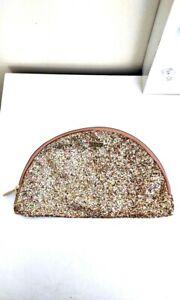 TARTE logo Rose Gold Half Moon Glitter large zip Make up bag