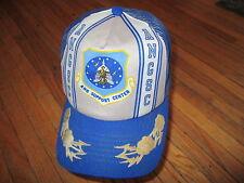 vtg AIR NATIONAL GUARD HAT Meshback Trucker Cap ANGSC Snapback Blue 80s Beat-up
