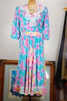 Vintage Assorti Susan Freis Floral Ruffles Plunging Godet Boho Dress Medium