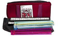 American Mah Jongg Soft Bag Case New 166 Tile Set with 4 Color Pushers Burgun.