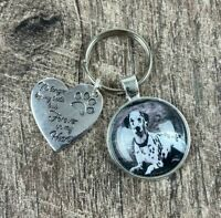 Dog personalised photo keyring paw prints heart loss gift memorial cat christmas