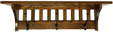 Mission Style Wall Mounted Coat Rack with Shelf – Wooden Hat Rack – Entryway Org