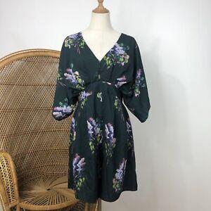Asos Playsuit Romper Size 14 L Floral Flower Print Green Purple Corporate Career