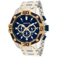Invicta Men's Watch Pro Diver Chrono Blue and Gold Tone Dial Bracelet 33845